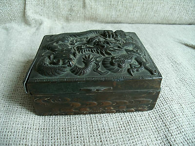 VINTAGE Oriental Bronzed Metal Box with Intricate Dragon Design - Signed