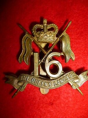 The 16th Lancers Silver and Brass QC Officer's Cap Badge