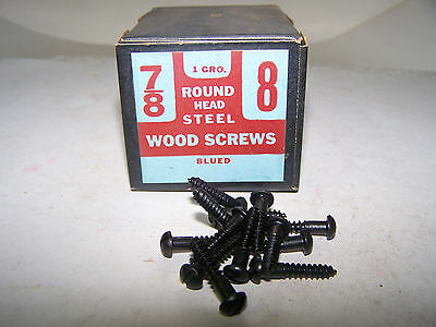 "#8 x 7/8"" Round Head Blued Wood Screws Slotted Vintage Made in USA Qty 144"
