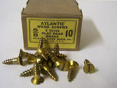 "#10 x 5/8"" Flat Head Brass Wood Screws Solid Brass Slotted Made in USA Qty. 125"