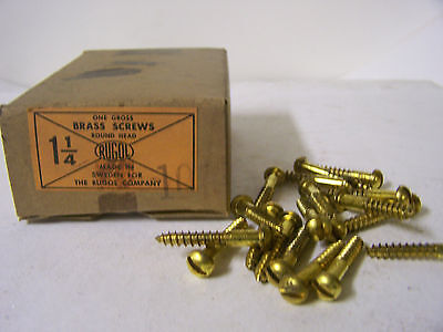 "#10 x 1 1/4"" Round Head Solid Brass Wood Screws Slotted Made in Sweden Qty.144"