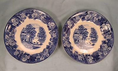 2 English Scenery Blue Coupe Soup Bowls Enoch Wood & Sons Blue Transferware (O2)