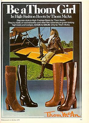 1978 Be a Thom McAn Girl Aviator Boots Print Advertisement Ad Vintage VTG 70s