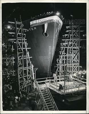 1942 Press Photo Dorothy Lamour Christened SS Willis in California Shipbuilding