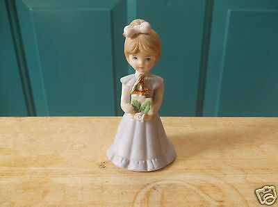 1982 Enesco Growing Up Birthday Girls Porcelain 4 Year Cake Topper Brown Hair