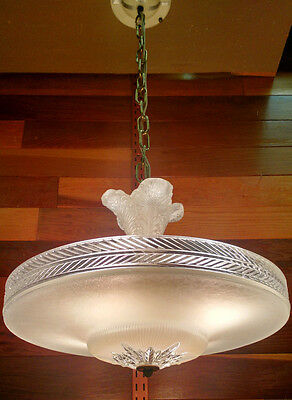 Antique 1940's Cream Glass Art Deco Ceiling Light Fixture Chandelier 4 Available