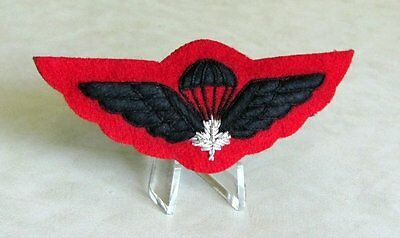Canadian Airborne  Para Wings Full Size Black with Silver Maple Leaf on Red Felt
