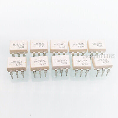 10 pcs MOC3023 OPTOCOUPLER TRIAC-OUT 6-DIP FSC NEW