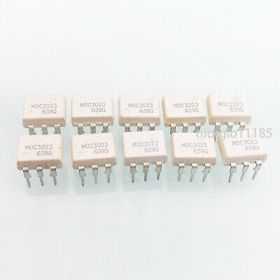 US Stock 10pcs MOC3023 OPTOCOUPLER TRIAC-OUT 6-DIP FSC NEW