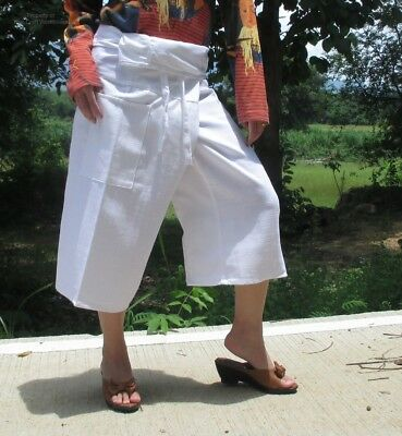 Fisherman Pants Chenamai Cotton Comfy Wide Fit Casual Everyday sz M In White