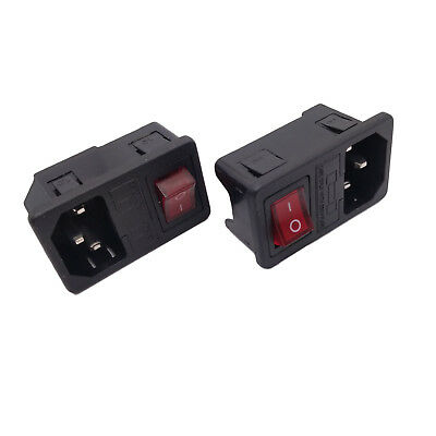 2 pcs AC-01 Black Red AC 250V 10A 3 Terminal Power Socket with Fuse Holder