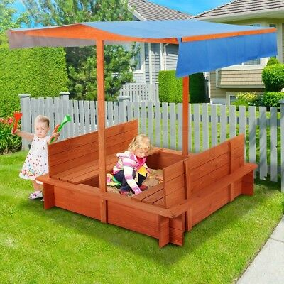 Kids Sandpit Outdoor Wooden Sandbox Canopy Bench Play Toy Sand Pit Large Seat