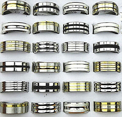 100 mix gold silver black rubber stainless steel men's women rings wholesale