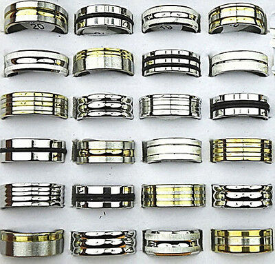 50 top mix gold silver black rubber stainless steel men's women rings wholesale