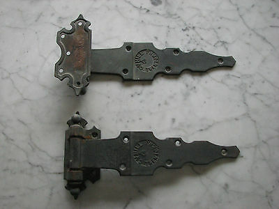 "2 Rare ""C. V. Hill & Co.Trenton N.J."" Cast Brass Antique Hinges"