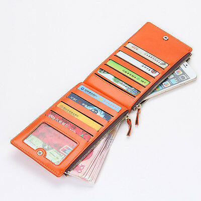 Women's Bifold Leather Credit Card Holder Billfold Wallet Purse Checkbook Clutch