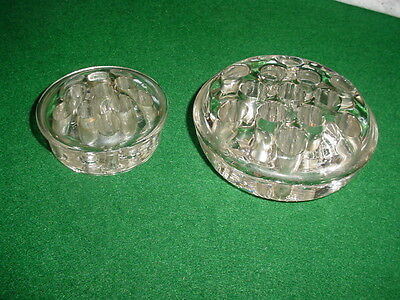 "2 Antique Glass Rd Flower Frogs~One Lg Size  4 1/2"" / Smaller 3 1/2"" Piece~Nice"