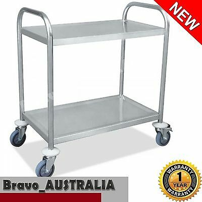 Stainless Steel 2 Tier Serving Trolley Utility Service Cart Catering Kitchen
