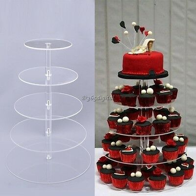5 Tier Round Cupcake Stand Wedding Display Crystal Clear Acrylic Cake Tower