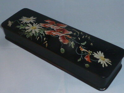 Stunning Antique Victorian Lacquered Glove Box, with Beautiful Floral Design.