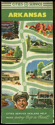 Cities Service Gasoline Road Map Arkansas 1952