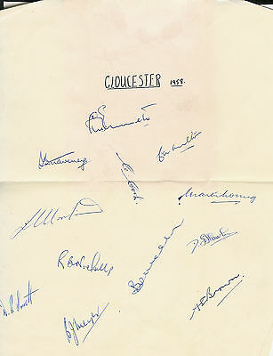 Gloucestershire County Cricket Club 1958 Autograph Sheet Cricket Signed Sheet