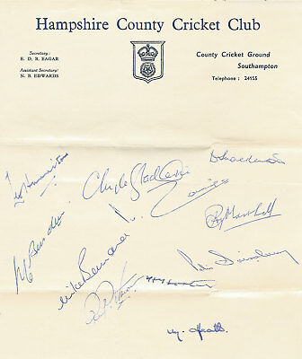 Hampshire County Cricket Club Official Autograph Sheet 1958 Cricket Signed Sheet
