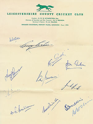 Leicestershire County Cricket Club Official Autograph Sheet 1958 Cricket Signed