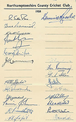Northamptonshire County Cricket Club Official Autograph Sheet 1958  Signed Sheet