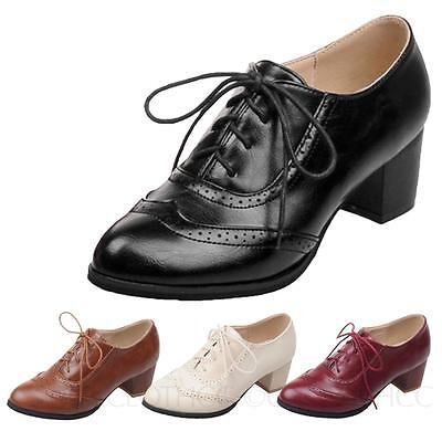 6adb819ed9 NEW Women Vintage Oxford Faux Leather Retro Lace Up Stacked High Heel Shoe.