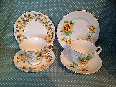 2 vintage yellow china trios.1 Queen Anne & 1 Royal Stafford.Cups,saucers,plates