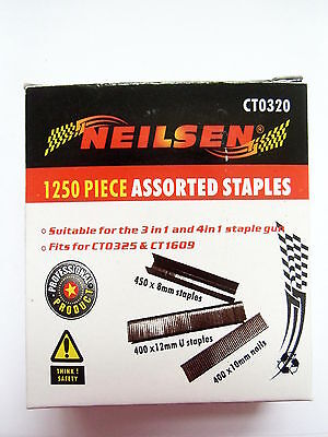 1250 assorted staple gun staples 8mm 12mm U 10mm nails spare replacement