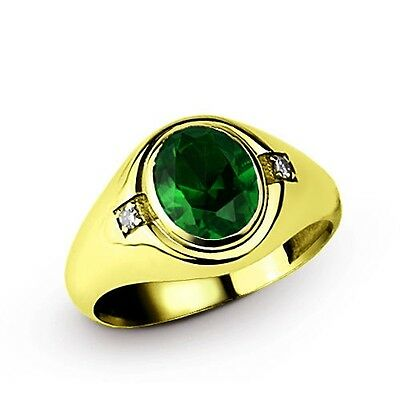 NATURAL EMERALD Men's Silver Ring 14k Yellow Gold Filled with GENUINE DIAMONDS