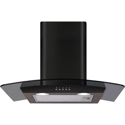 CDA ECP62BL 60cm Curved Glass Cooker Hood Extractor Fan In Black