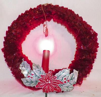 Vintage Christmas Wreath Electric Candle Light Red Cellophane Foil Leaves #1