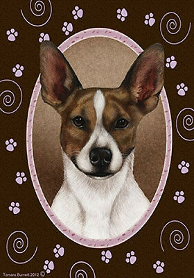 Garden Indoor/Outdoor Paws Flag - Rat Terrier (Brown & White) 171301