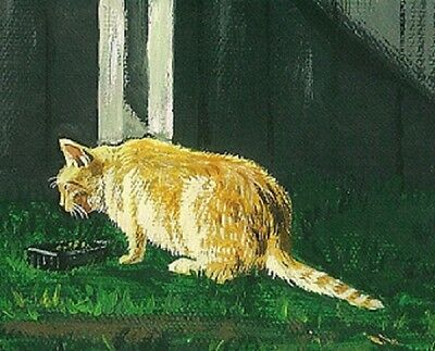 Aceo Print Of Painting Ryta Cat Red Tabby Realism Wildlife Folk Art Spring Cats