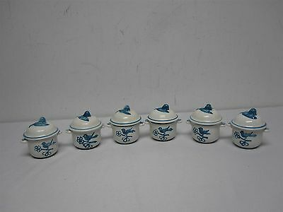 6 VINTAGE DERUTA COVERED SMALL CHOCOLATE POTS CUPS w BIRDS & FLOWER