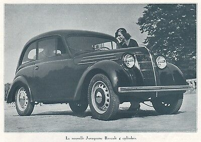 1938 Photo Print Ad Renault Juvaquatre 4 Cylinders Car Auto