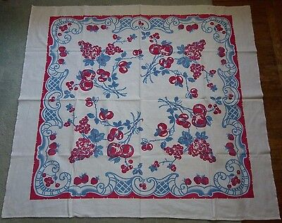 Vintage Kitchen Linen Tablecloth with Fruit Grapes Cherry Strawberry Blue & Red