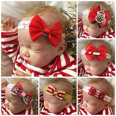 Baby Girl Christmas Headbands with Red Bow Santa's Hat Christmas Tree Flower