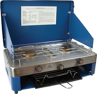 Highlander Double Burner Grill butane gas Stove Camping cooking Land Rover