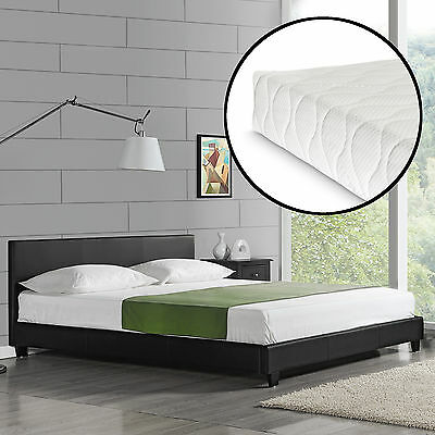 CORIUM Design Upholstered Bed + Mattress 160 x 200 cm imitation leather Black