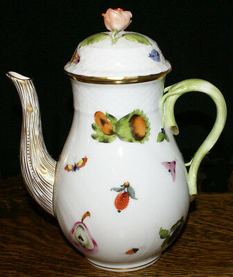 "Herend Bone China Market Garden 8.5"" Tall Coffee Pot with Rose Finial on Lid"