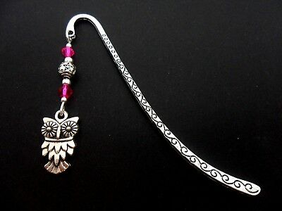 A Tibetan Silver  Owl  Charm & Pink Crystal Bead  Bookmark. New.