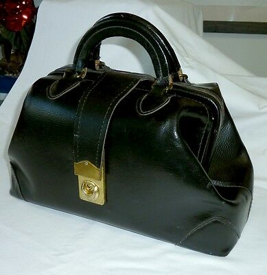 Vintage Black Leather Small Doctors Bag  Genuine Leather Bms 30-2114B Jo