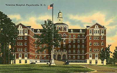 Fayetteville North Carolina Veterans Hospital Unused Linen Postcard