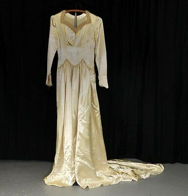 wedding gown dress liquid satin train vintage 1940 ivory beaded small WWII