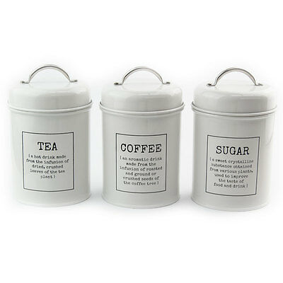 """White Tea Coffee Sugar Canisters Tin Storage Jars with """"Dictionary Definitions"""""""