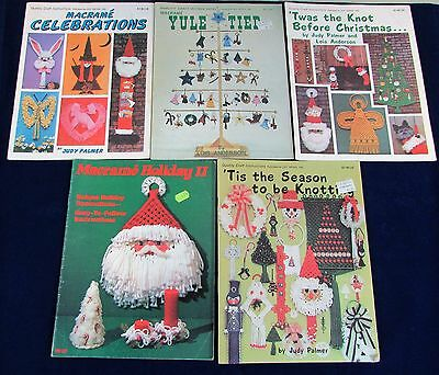 Lot of 5 Christmas & Holiday Macrame Pattern Books Vintage Patterns